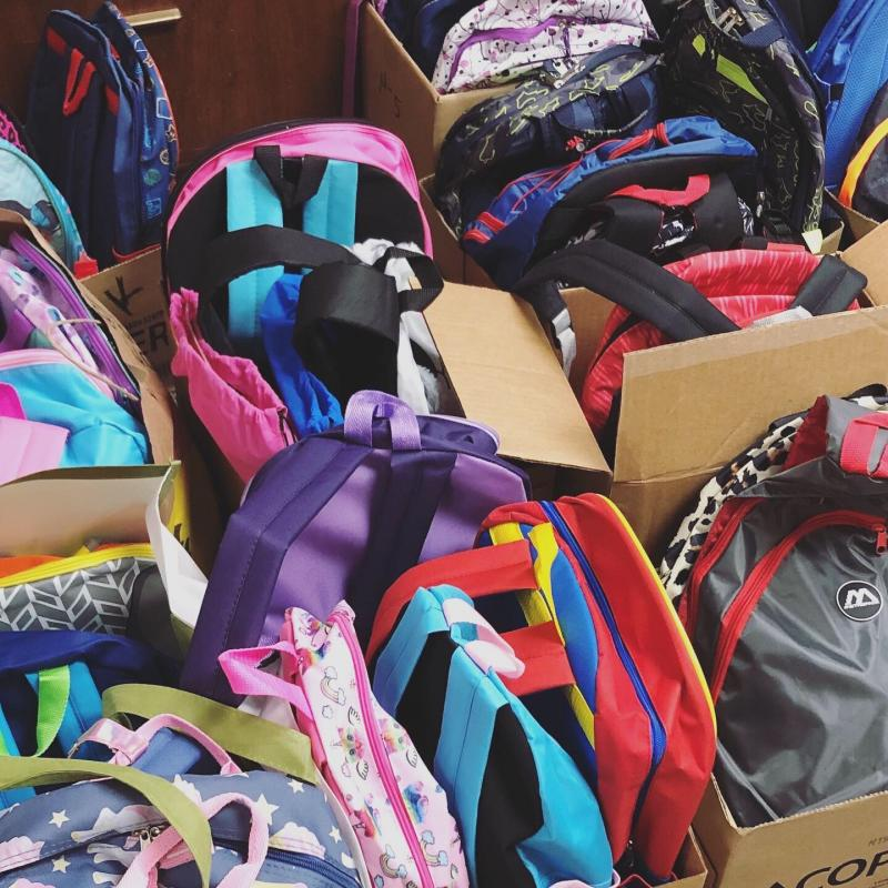 The backpacks HandWorks donated at the start of the school year